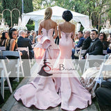 Mismatched Pink Mermaid Ruffles Bridesmaid Dresses, Lace Up Long Train Bridesmaid Dresses, PD0480