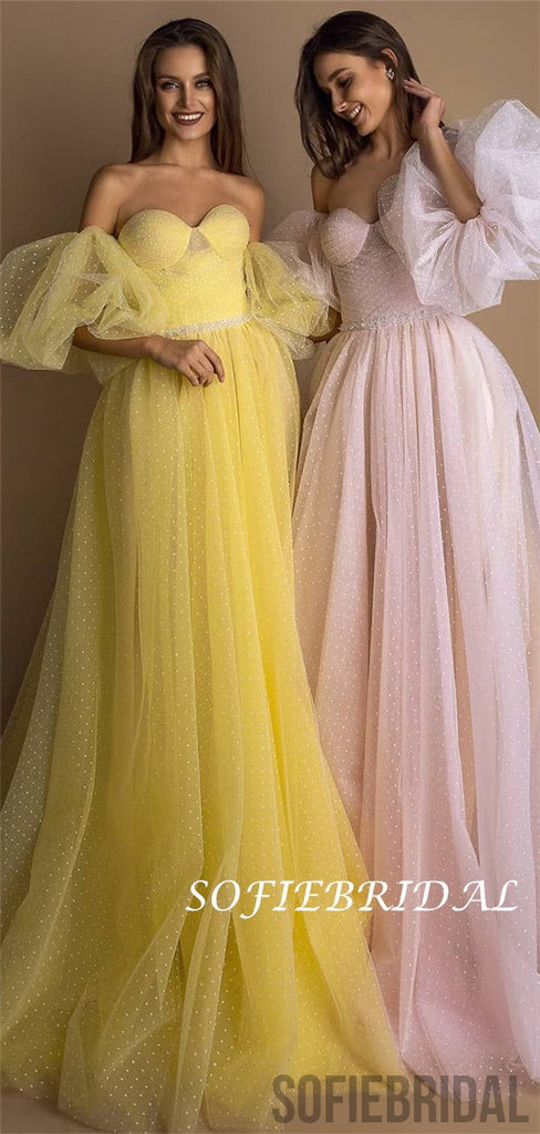 Off-shoulder Sweetheart Long Yellow Tulle Prom Dresses, PD0118