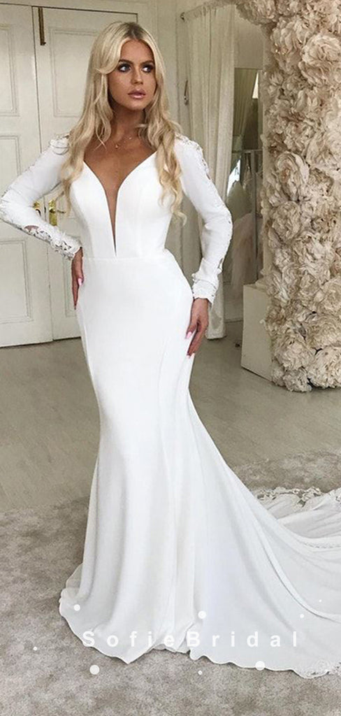 Mermaid Deep V-Neck Long Sleeves Cheap Wedding Dresses With Lace,SFWD0003