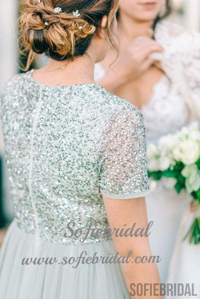 V-neck Sequin Top Tulle Bridesmaid Dresses, Sage Bridesmaid Dresses, Cheap Bridesmaid Dresses, PD0493