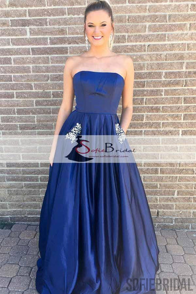 Straight A-line Satin Prom Dresses With Pockets, Simple Design Cheap Prom Dresses, PD0460