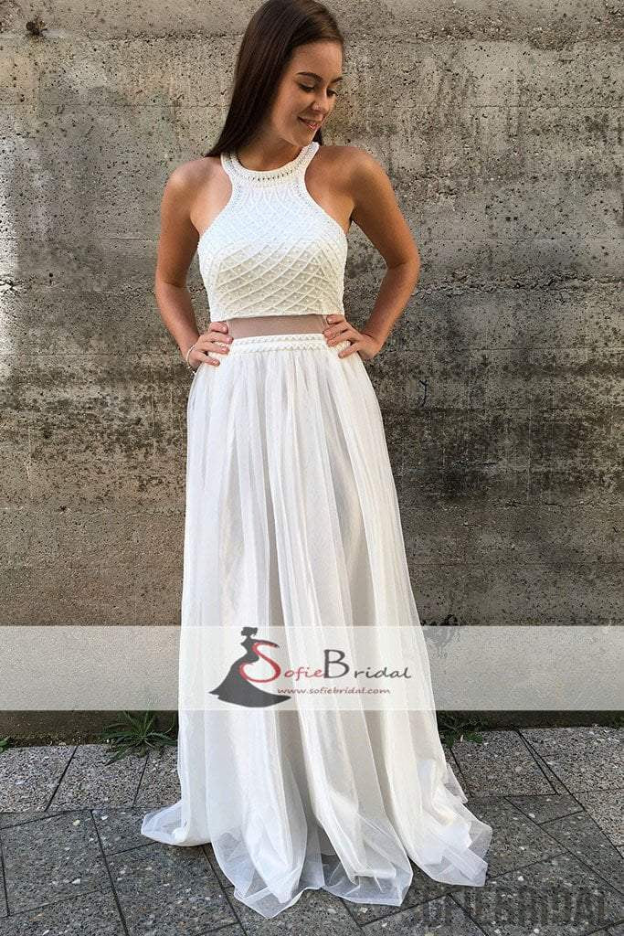 White Beaded Top Tulle A-line Prom Dresses, Lovely Open Back Prom ...