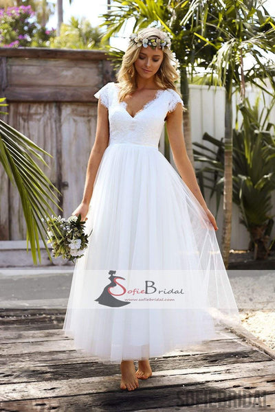 Cap Sleeve V-neck Long A-line Lace Tulle Wedding Dresses, Open Back Wedding Dresses, WD0260