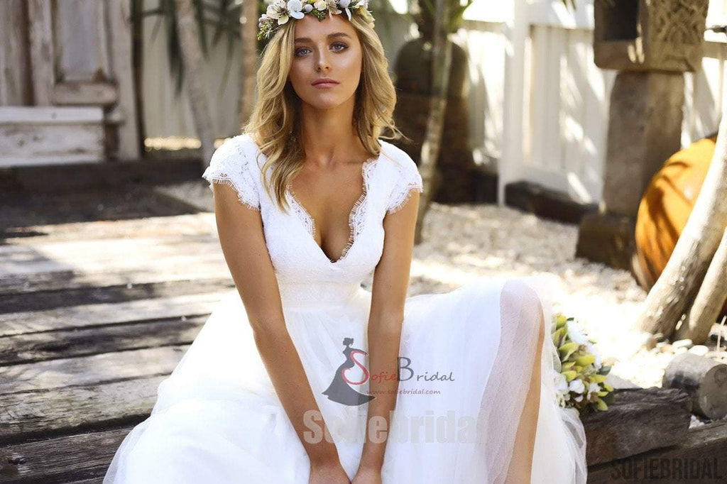A Line Wedding Gown With Sleeves: Cap Sleeve V-neck Long A-line Lace Tulle Wedding Dresses