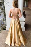 Halter Deep V-neck Lace-up Back Prom Dresses With Split, PD0132