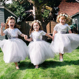 A-line Round Neck Short Sleeves Sequins Top Flower Girl Dresses, FG0101