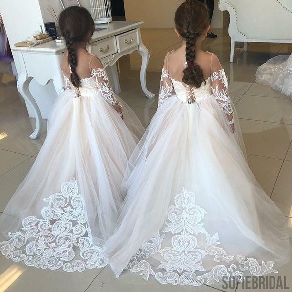 Gorgeous See-though Long Sleeves  Flower Girl Dresses With Train, FG0104