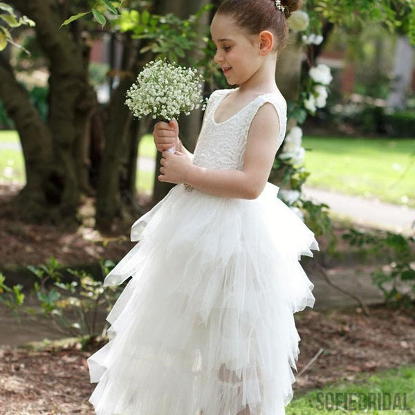 A-Line Ankle-Length Lace Top Tulle Flower Girl Dresses With Belt, FG098