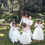 A-line Lace Top Long Sleeves Tulle Flower Girl Dresses, FG099