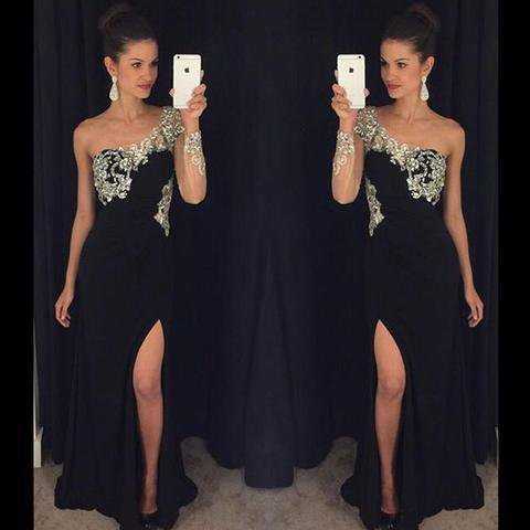 One Shoulder Black Jersey Side Slit Rhinestone Prom Dresses, See Through Long Prom Dresses, PD0314