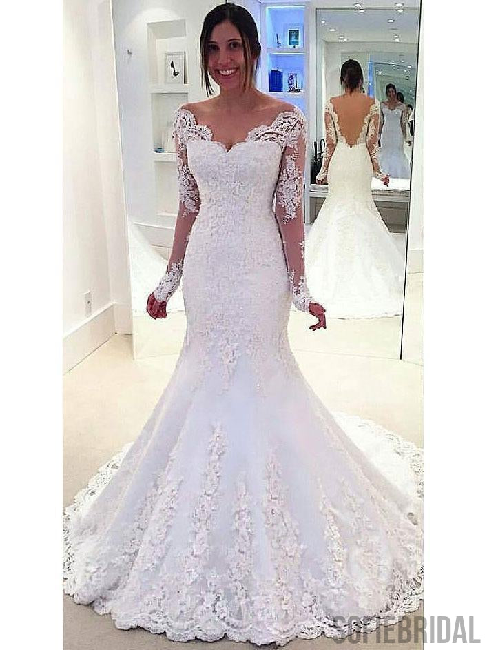 Long Sleeve Off Shoulder Mermaid Lace Custom Wedding Dresses Online, WD349