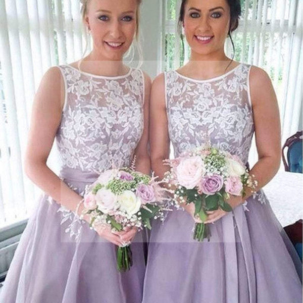 2016 Most Popular Junior Pretty Organza Bateau Off Shoulder Lace Short Bridesmaid Dresses, SF0006