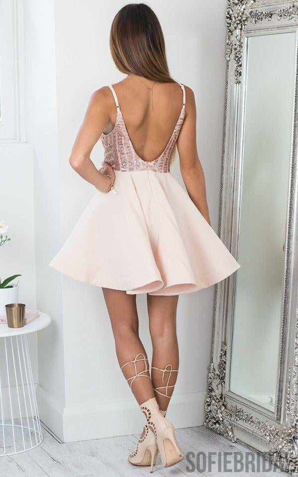 Cheap Simple Sparkly Sequin Sexy Cute Homecoming Dresses 2018, CM466