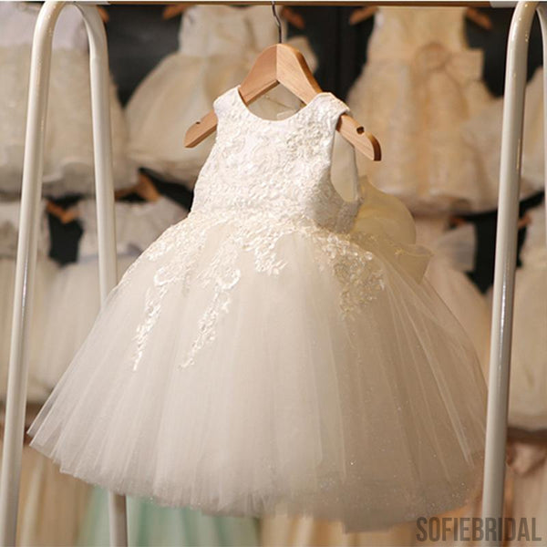 60c1ce3102d Ivory Round Neck Lace Tulle Flower Girl Dresses