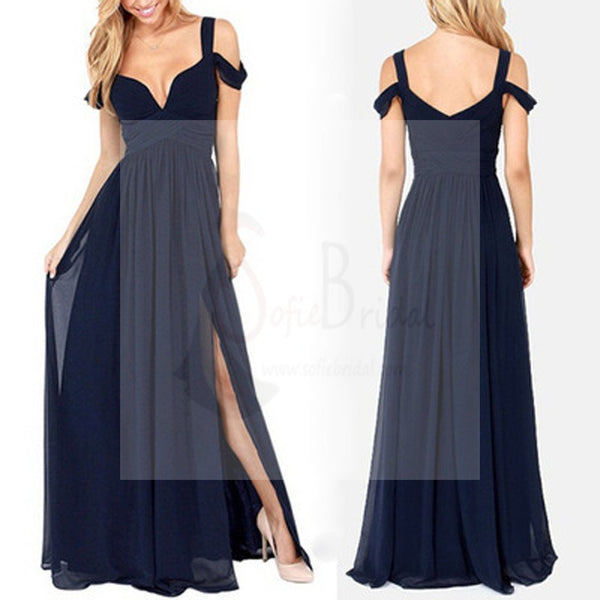 Most Popular Charming Side Split Chiffon Navy Blue Formal Zipper Back Long Bridesmaid Dresses, WG32