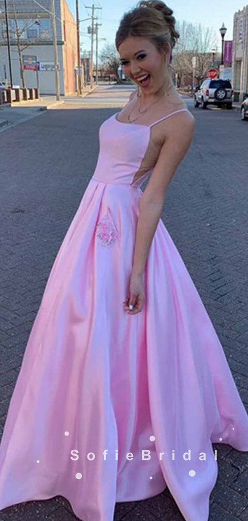 A-Line Spaghetti Straps Pink Cheap Floor Length Prom Dresses Online,SFPD0034