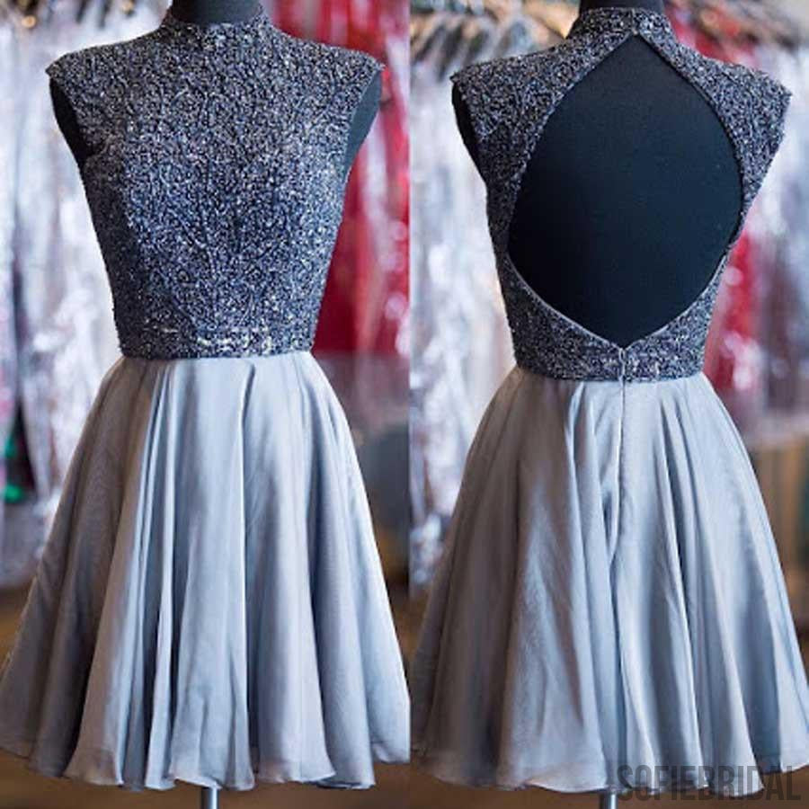 Grey beads sparkly high neck open back vintage elegant homecoming prom dress, SF0073