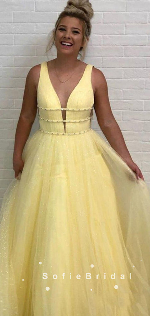 Shinny A-Line Deep V-Neck Sleeveless Tulle Long Prom Dresses With Beading,SFPD0035