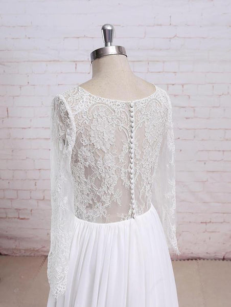 Long Sleeves Lace See Through Cheap Beach Wedding Dresses Online, WD380