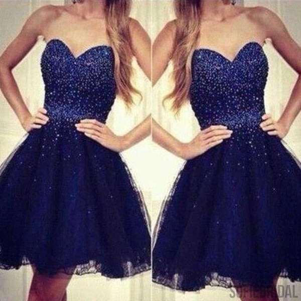 Royal blue strapless sweetheart beaded cheap cute homecoming dresses, SF0025