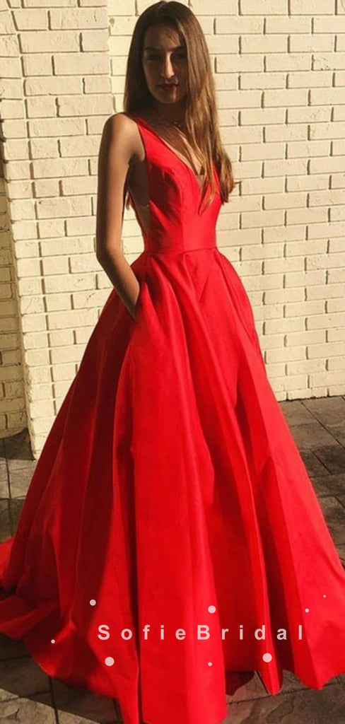 Simple A-Line V-Neck Sleeveless Red Long Prom Dresses With Pockets,SFPD0036