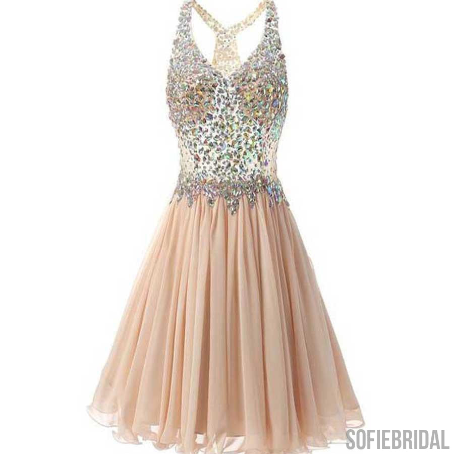 Popular Rhinestone Beaded Beige Chiffon Homecoming Dresses, SF0060