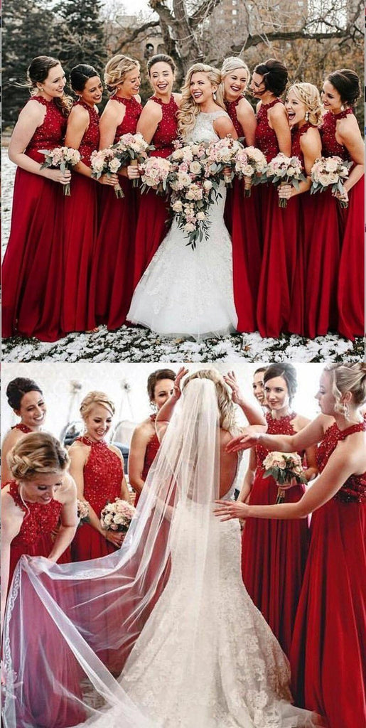 A-Line Halter Red Chiffon Long Bridesmaid Dresses With Lace,BD2025