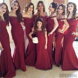 Maroon Off Shoulder Long Mermaid Side Slit Beaded Bridesmaid Dresses, PD0240