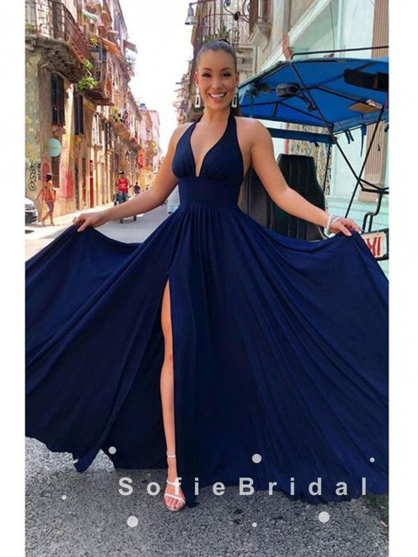 A-Line Deep V-Neck Split Side Cheap Long Prom Dresses,SFPD0037