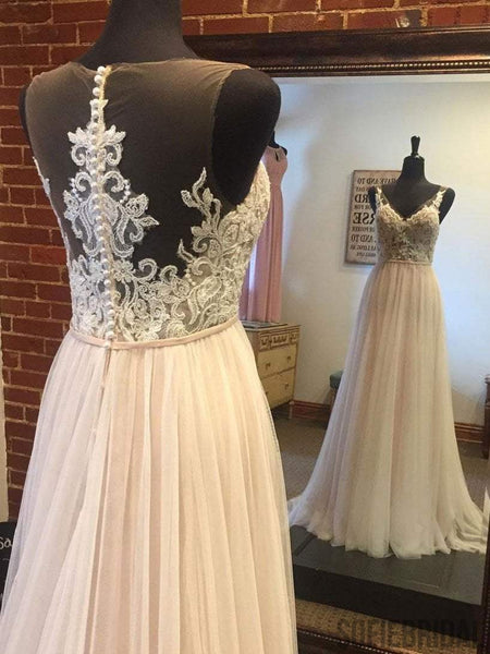 Lace V Neck See Through A-line Cheap Wedding Dresses Online, WD356