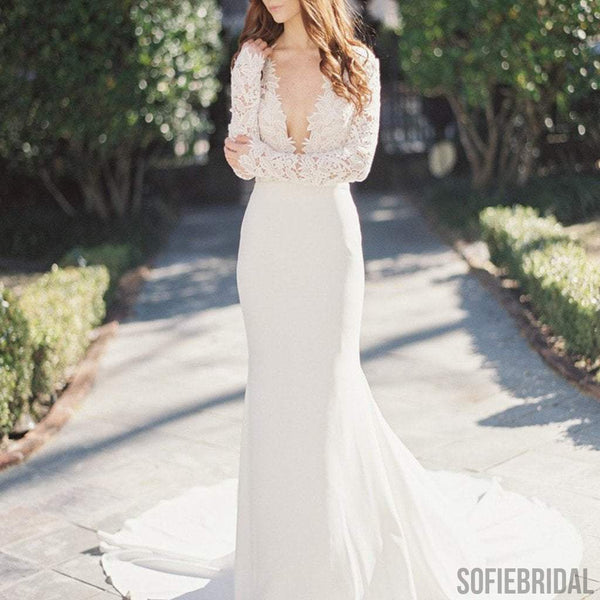 Sexy deep v neck long sleeve lace top mermaid wedding for Long sleeve lace v neck wedding dress