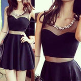 Short black mismatched sexy charming popular homecoming prom dress,BD0038