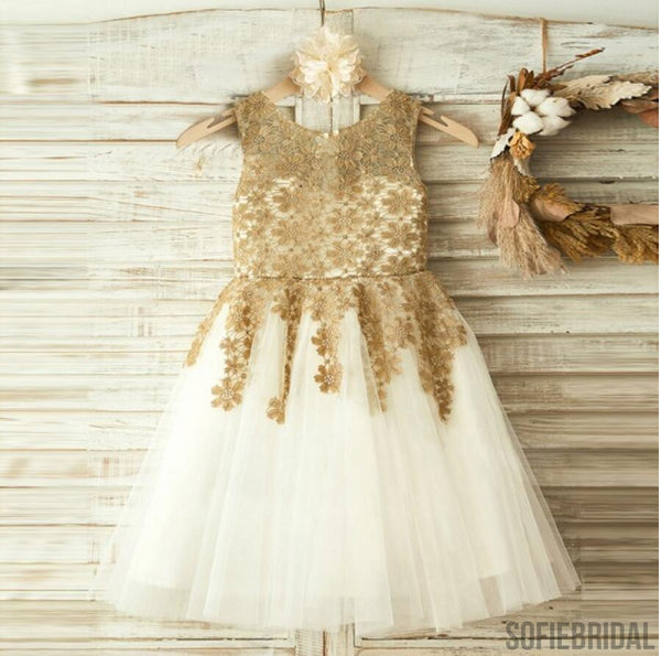 Gold Lace Sleeveless Tulle Flower Girl Dresses, Little Girl Dresses, Cheap Flower Girl Dresses, FG073