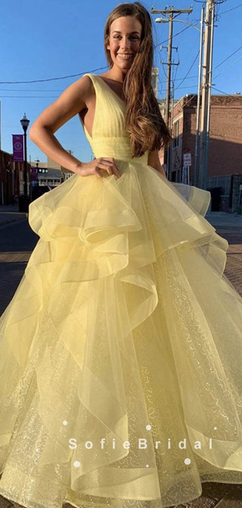Newest A-Line V-Neck Sleeveless Yellow Tulle Long Prom Dresses,SFPD0039