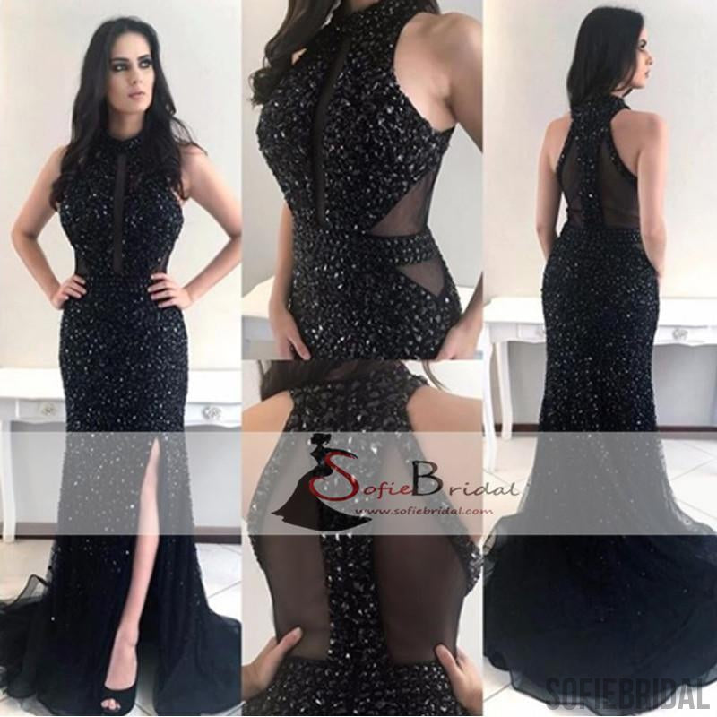 High Neck Black Rhinestone Beaded Long Mermaid Prom Dresses, Sparkle Prom Dresses, PD0410