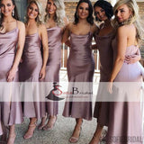 Soft Satin Spaghetti Mermaid Wedding Guest Dresses, Mermaid Affordable Bridesmaid Dresses, PD0477
