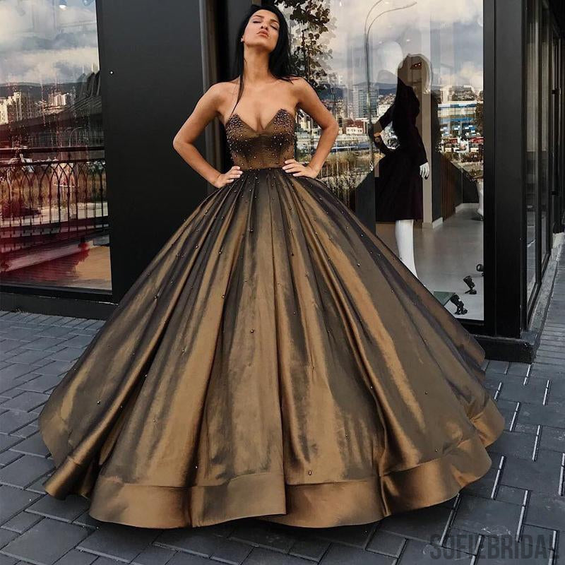 Sweetheart Ball Gown, Beaded Princess Long Prom Dresses, Cheap Long Prom Dresses, PD0352