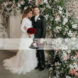 Round Neck V-back Wedding Dresses, Long Sleeve Jersey Tulle Wedding Dress, Bridal Gown, WD0270