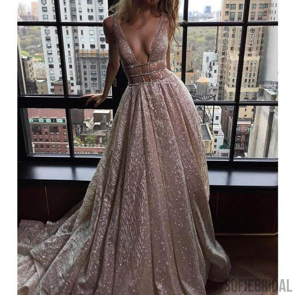 Brand Inspired Deep V-neck Long A-line Sequin Wedding Dresses, Long Prom Dresses, PD0364