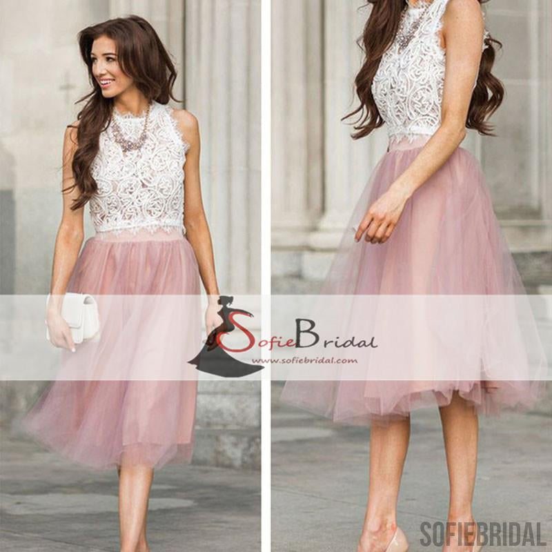 Sleeveless Lace Tulle Short Prom Dresses, Lovely 2 Pieces Homecoming Dress, Homecoming Dresses, SF0093