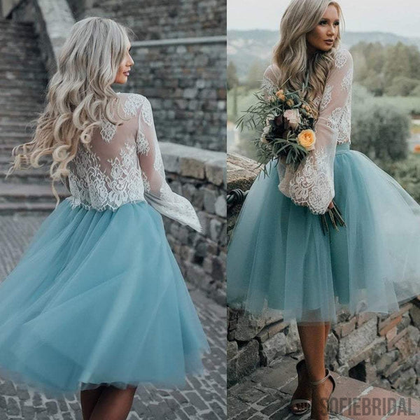 daefcad544 2017 New Arrival Boho Style Long Sleeve See Through Lace Top Blue Tulle  Homecoming Dresses