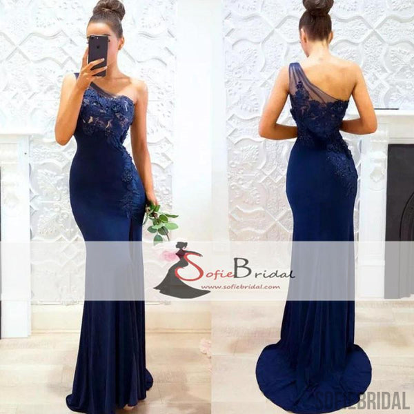 One Shoulder Navy Mermaid Bridesmaid Dresses Lace Bridesmaid Dresses Long Bridesmaid Dresses Pd0501 One Shoulder Navy Mermaid Bridesmaid Dresses