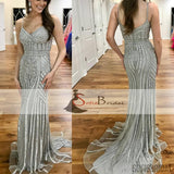 Silver Rhinestone Shiny Prom Dresses, Spaghetti Mermaid Prom Dress, Prom Dresses, PD0433