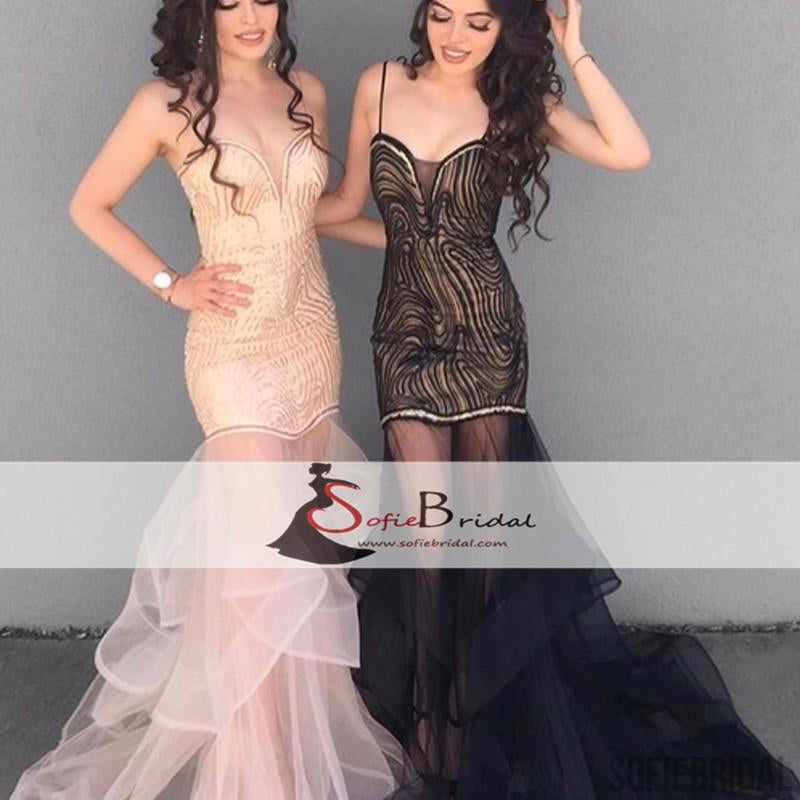 Sexy Mermaid Tulle Prom Dresses, See Through Prom Dresses, Popular Prom Dresses, PD0456