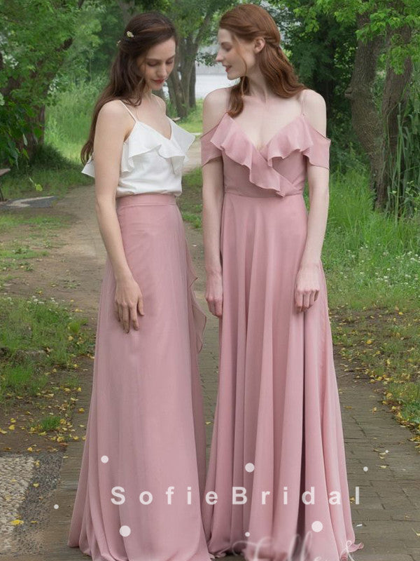A-Line V-Neck Spaghetti Straps Off The Shoulder Chiffon Bridesmaid Dresses With Ruffles,SFWG0003