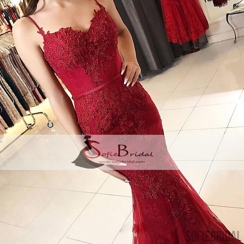 Red Lace Applique Prom Dresses Mermaid Long Prom Dresses, Spaghetti Prom Dresses, PD0443