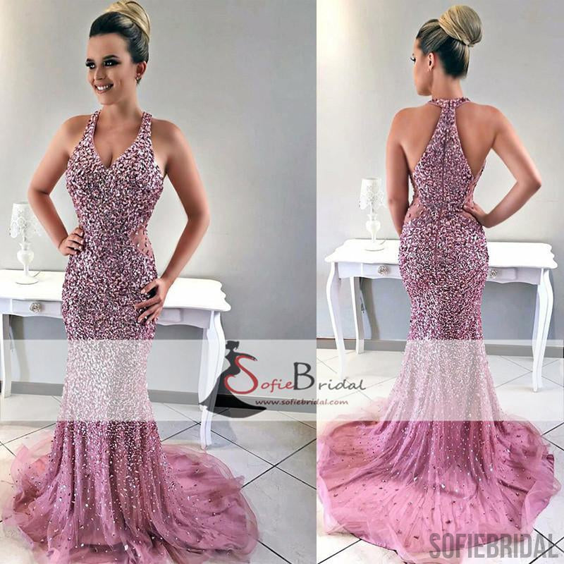 Sexy V-neck Rhinestone Beaded Prom Dresses, Long Mermaid Prom Dresses, Prom Dresses, PD0398