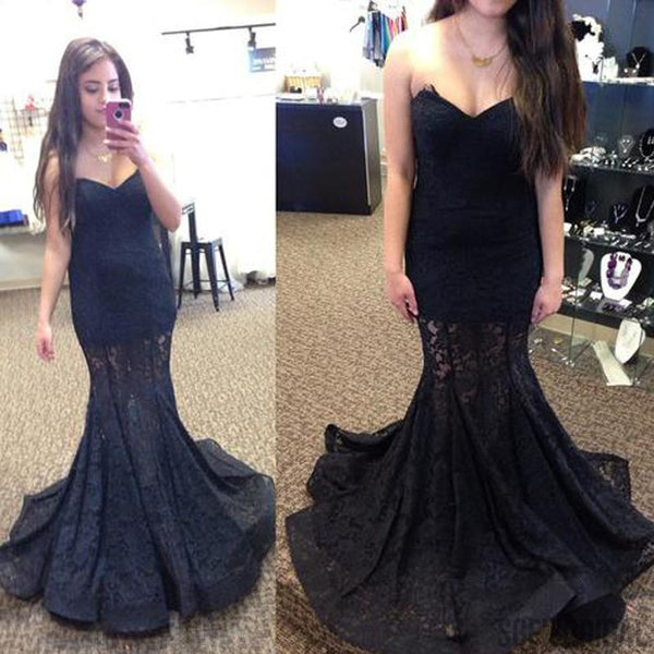 Sweetheart Long Mermaid Black Lace Prom Dresses, See Through Prom Dresses, PD0327