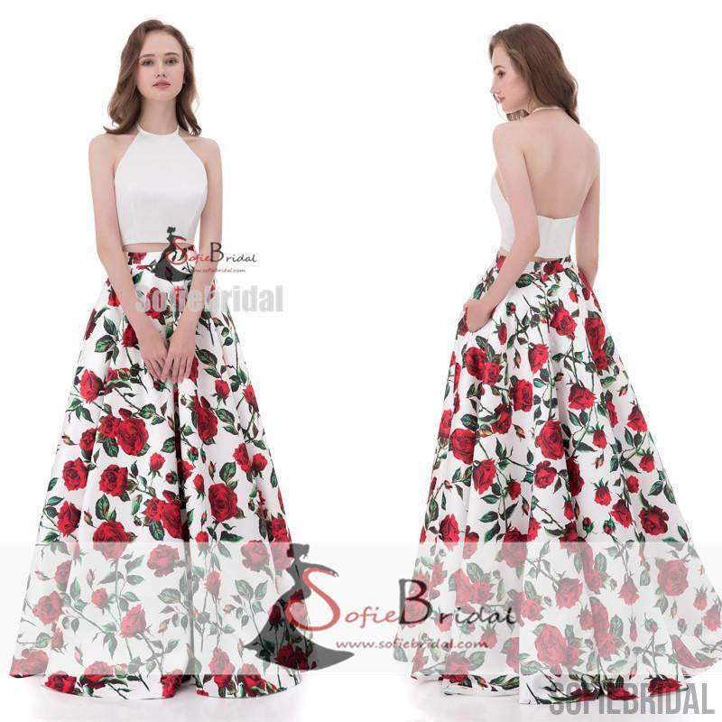 2 Pieces Halter White Top Printed Floral Formal Evening Gown, Long Prom Dresses, PD0371