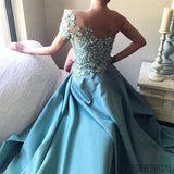 One Shoulder Appliques Beaded Side Slit Long Prom Dresses, Prom Dresses, PD0763